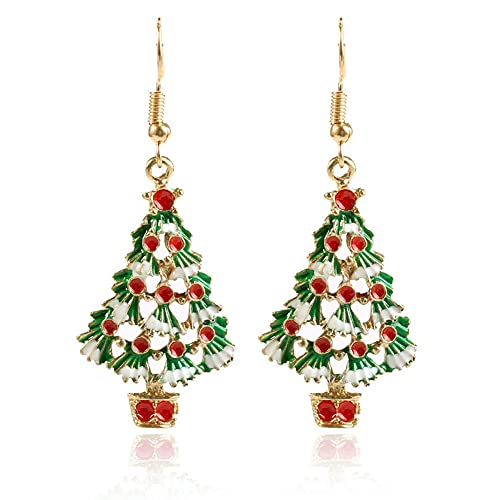 QTSUANNAI Pendientes de Navidad - Adornos del Festival 1Pair Pendientes de Árbol de Navidad para Mujeres Pendientes de Sementales De Moda Regalo Joyería