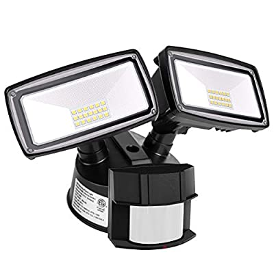 LED Security Light 3000LM, 28W Outdoor Motion Sensor Light, 5500K, IP65 Waterproof, Adjustable Head Flood Light for Entryways, Stairs, Yard and Garage