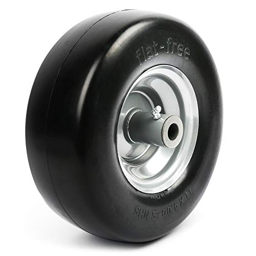 """LotFancy 11x4.00-5"""" Lawn Mower Tire on Wheel, Flat Free, 3/4' Bushings, 5' Centered Hub with Grease Fitting, Smooth Tread Tire for Zero Turn Mowers, No Roller Bearings"""