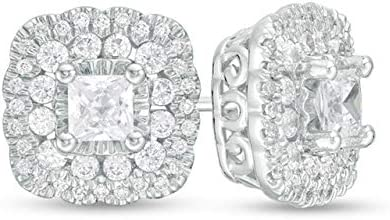 1.00 CT Princess Round Cut Credence Diamond Earrings 14k Indianapolis Mall W Stud Cluster