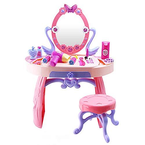 WE-WHLL Tocador de Maquillaje de Belleza para niños Juego de Juguete de simulación con Luces de Espejo Sonidos Musicales para niñas de más de 3 años Regalo de cumpleaños
