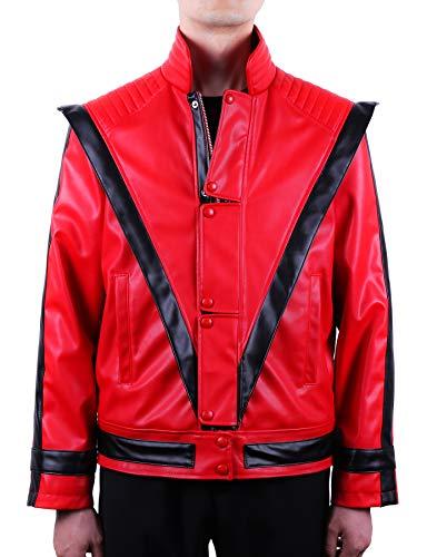 MJB2C-Mj Costume Jackson Thriller-Jacke (Erwachsene/Kinder/Kinder/Jungen/Mädchen), Rot, umweltfreundliches Leder - Rot - Erwachsene Large