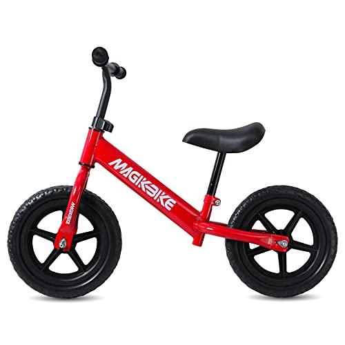 MAGIKBIKE Bicicletta Senza Pedali| Bici da Equilibrio | Prima Bici Senza Pedali | Balance Bike | Manubrio e Sedile Regolabili | De 3 a 5 Anni (Rossa RUOTE PIENE)