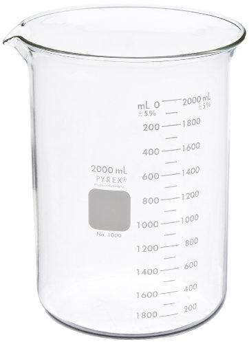 Corning Pyrex Borosilicate Glass Low Form Griffin Beaker, Graduated, 193mm H, 2000ml Capacity (Case of 8)