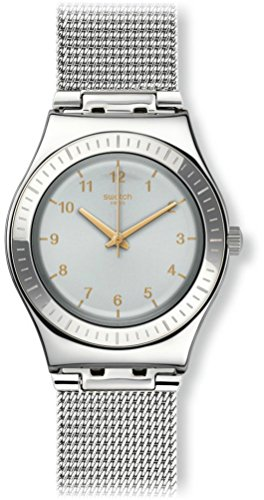 Swatch Orologio Digitale Quarzo da Donna con Cinturino in Acciaio Inox YLS187M