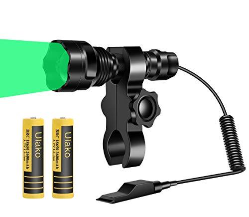 Ulako Green Light Flashlight 460 Yards U80 Adjustable Touch Hunting Spotlight Floodlight Coyote Hog Pig Varmint