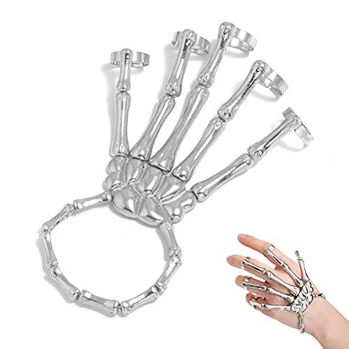 1 pulsera de mano de esqueleto de calavera de metal brazalete de mano con forma de hueso con anillo de dedo para hombres y mujeres Halloween