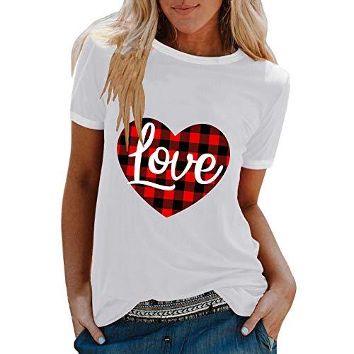 T-Shirt Top Bluse Pullover Frauen Mode Casual Print O-Neck Loose Kurzarm (XL,2Weiß)