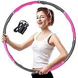Aoweika Hula Hoop Reifen Erwachsene, Fitness Hula Hoop zur Gewichtsreduktion, 6-8 Segmente Abnehmbarer Kinder Hula Hoop für Fitness Sport Zuhause BüRo Bauchformung Grau + Rosa