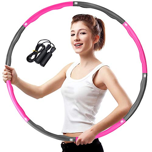 Aoweika Fitness Exercise Hoop Erwachsene, Reifen Hoop zum Abnehmen, 6-8 Segmente Abnehmbarer Kinder Exercise Hoop für Sport Zuhause BüRo Bauchformung (Grau +Rosa)