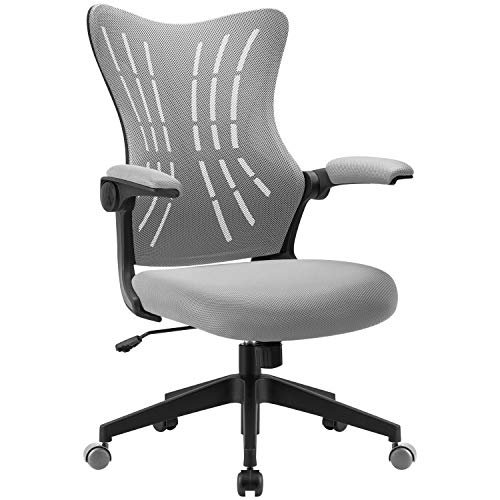 Furmax Office Desk Chair with Flip Arms,Mid Back Mesh Computer Chair Swivel Task Chair with Ergonomic with Lumbar Support (Gray)