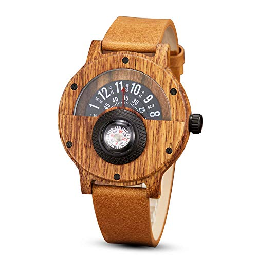 Men's Wood Watch Unique Leather Band Turntable Dial Men Military Watches with Compass Quartz Watch