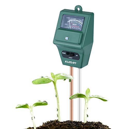 Kuman 3 in 1 Garden Soil Tester, Kuman Plant Moisture Sensor Meter Light PH...