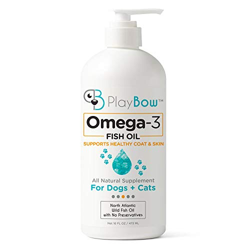NEW PlayBow Omega-3 Fish Oil Supplement for Dogs & Cats - All-Natural with No Preservatives - Supports Healthy Skin & Coat, Heart & Joints - Rich in EPA & DHA Fatty Acids - 16 FL OZ