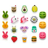 Cute Animal Cable Protector,18 Pack USB Charger Protector for iPhone iPad Cable, Fruit Bite Charging Protector and Cord Holder, Charging Cable Saver Phone Accessory Cable Buddies