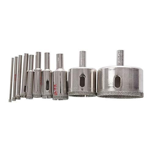 KJBGS Herramientas de perforación de Hardware 10pcs Diamante Orificio Saw bit Saw Set Set Tile Cerámico Cortar Vidrio Juego de mármol 3-50mm Taladro Multiusos (Color : Silver)