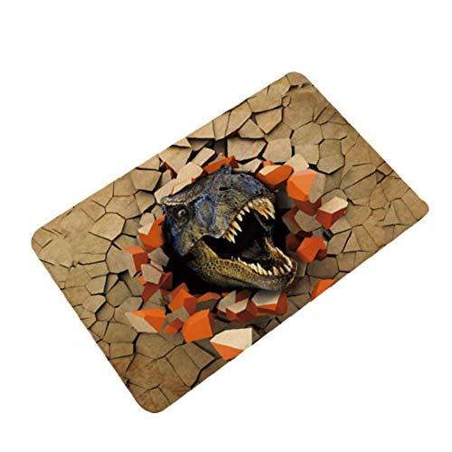 Canjerusof Dinosaurio 3D Impreso Felpudo Antipatinaje Absorción De Agua Estera del Piso De Alfombra para Baño Sala 60cm * 40cm