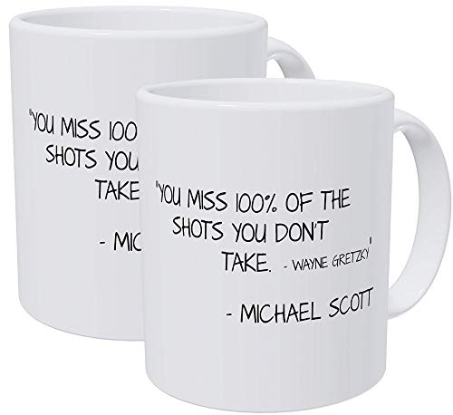 Willcallyou Pack of 2 You Miss 100% of the Shots You Don't Take, Michael Scott Quotes 11 Ounces Funny White Coffee Mug
