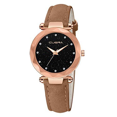 Neuer Trend Armbanduhr mit Leder Armband Damen, Frauen Minimalistisch Modisch Elegant Analog Quarz Ultradünn Uhren Damenuhr Wrist Watch Watches LEEDY