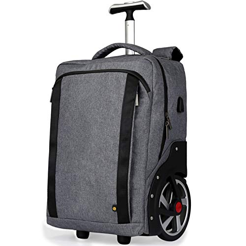 DAGUO Rolling Laptop Bag with Wheels,Fits Up to 17.3-Inch Laptop,Travel Friendly Wheeled Briefcase for Women and Men with Telescoping Handle-Black,Gray