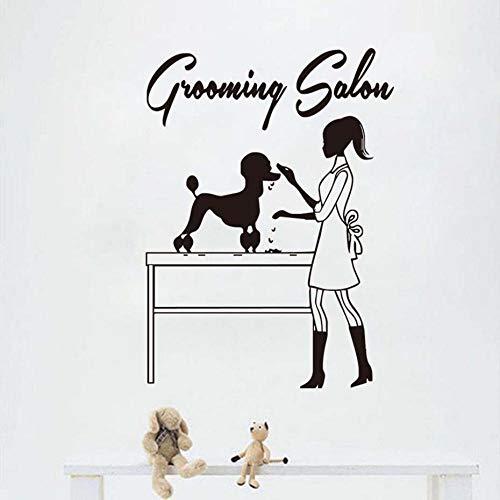 Schoonheidsspecialiste En Hond Vinyl Muursticker Parfum Huisdier Verzorging Salon Winkel Muurstickers Dierenwinkel Decoratie