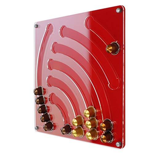 Plexidisplays 1103006 Wand-Kapselhalter für Nespresso-Kapseln, Design Wasserfall, 41 x 40 cm, rot