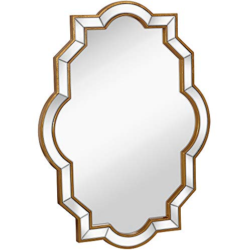 Large Moroccan Inspired Mirrored Edge Framed Wall Mirror with Gold Accents |...