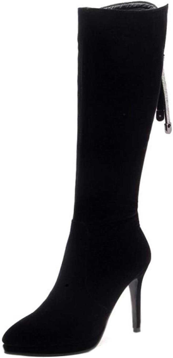 TAOFFEN Women Fashion Stiletto Heels Knee High Boots Zipper