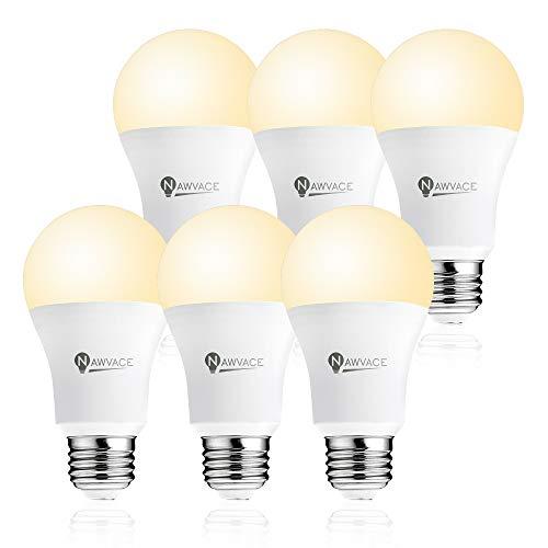 NAWVACE Dusk to Dawn Light Bulb LED Outdoor Lighting, Warm White 3000K, Photocell Light Sensor Dusk Til Dawn Porch Bulb Auto On/Off, 9W(60W Equivalent) 900LM E26 A19, 6-Pack