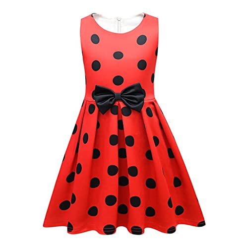 Lito Angels Deguisement Ladybug Coccinelle Enfant Fille, Robe à Pois Rouge et Noir Anniversaire Fete Carnaval, Taille 7-8 ans