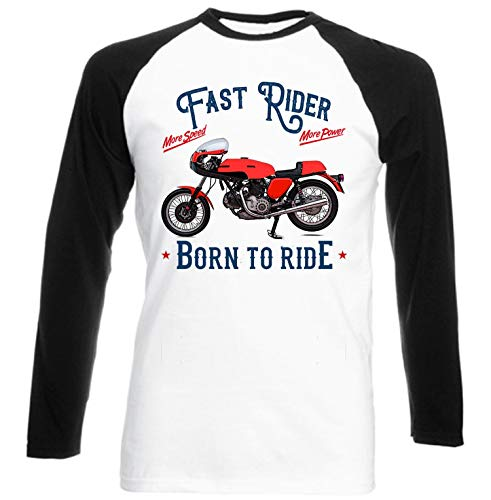 Teesandengines Ducati 750 Sport Fast Rider Camiseta de Mangas Negra largas T-Shirt Size Medium