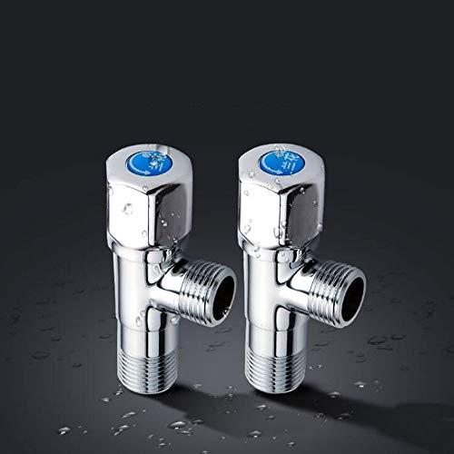 Lighfd Estándar G1 / 2 Calibre Hot Brass válvula de ángulo y el Interruptor de Agua Fría Triángulo de la válvula Resistente a la presión Válvula de Globo for cocinas y baños 2 Paquete
