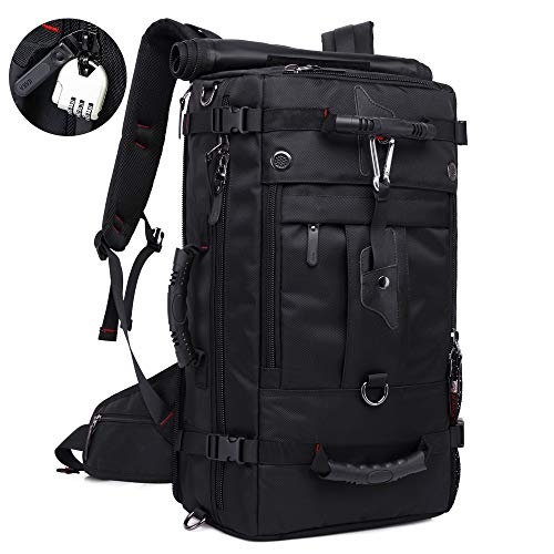 KAKA 35l Travel Backpack, Carry On Bag Durable Backpack Duffle Bag Fit for 15.6 Inch Laptop for Men and Women (black1)
