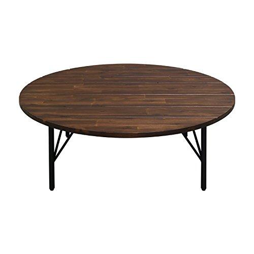 ISSEIKI ちゃぶ台 座卓 卓袱台 円卓 丸 円卓テーブル 丸テーブル 円 和風テーブル アカシア 木製 ブラウン 茶 北欧 モダン ブルックリンスタイル 男前 LITTLE ENTAKU 100