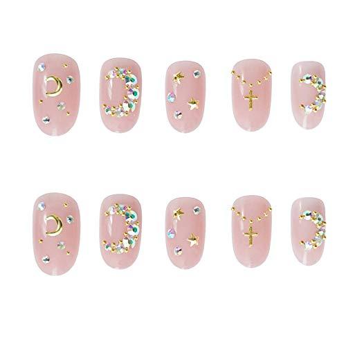 Faux ongles 24 pièces brillant brillant astérisme décorer les ongles mi-longs mariée femmes portable couverture complète doigt faux ongles TI