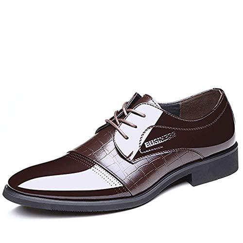 Best-choise Patentes Zapatos Oxford para Hombres Cuero Formal de Microfibra Vestido Formal Banquete de Boda Mocasines Antideslizantes Tacón bajo Atar Llamativo (Color : Marrón, tamaño : 43 EU)