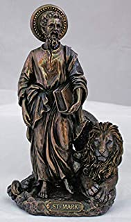 St. Mark with the Lion Statue in lightly hand-painted cold cast bronze, 8