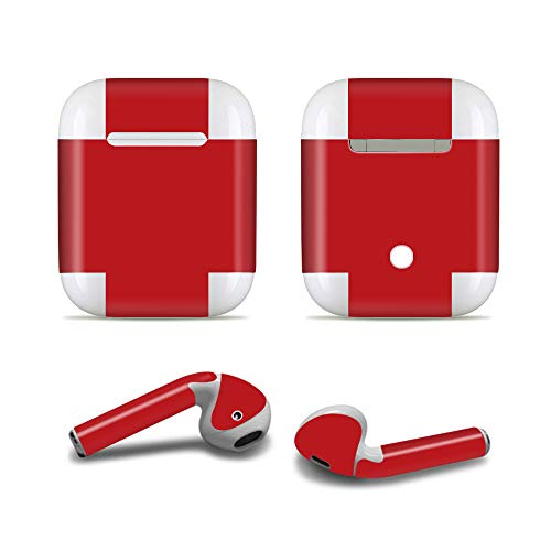 ProElife Nauwkeurige Protective Decal Skin Vivid Sticker Huidklevende Wrap Cover voor Apple Airpods 1/2 Opladen Case en Oordoppen, Krasbestendige Airpods Accessoires Kit, For Airpods 1 and 2, Wijn Rood