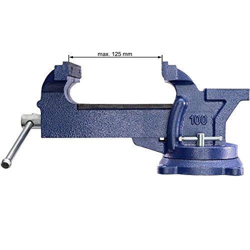 TecTake Schraubstock Amboss 360° drehbar mit Drehteller für Werkbank – diverse Größen – (Spannweite 125 mm | Nr. 401124) - 6