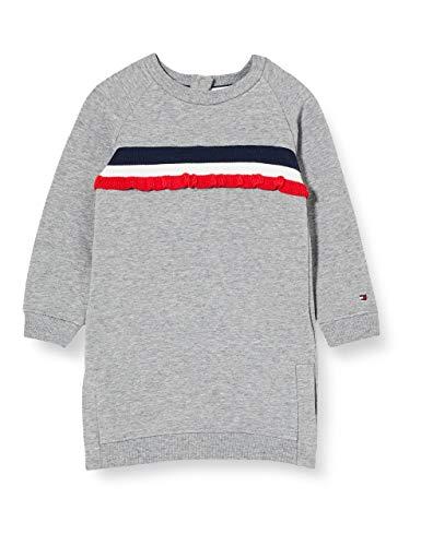 Tommy Hilfiger Herren Ruffle Rib Sweat Dress L/s Kleid, Mid Grey Htr, 3