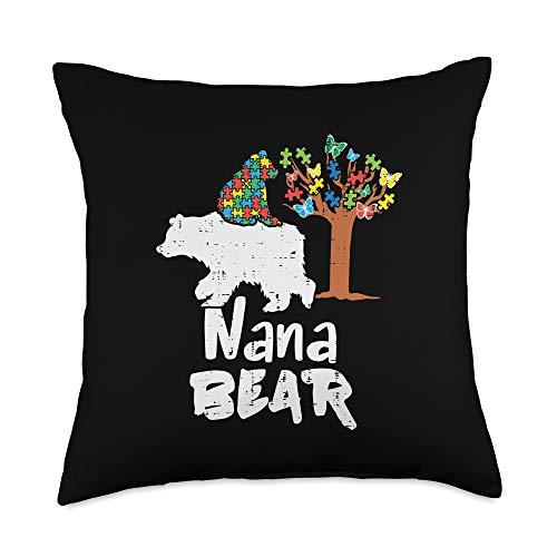 Autism Awareness Pillows For Women Men Kids Gifts Nana Bear Puzzle Autism Awareness Grandma Grandmother Women Throw Pillow, 18x18, Multicolor