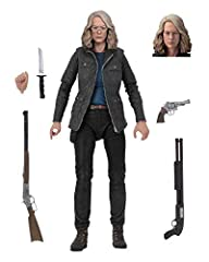 Based on the 2018 film Halloween Laurie Strode stands about 7 inches tall with over 25 points of articulation Accessories included: 2 heads, shotgun, rifle, revolver, knife that fits into sheath on her hip and more Display friendly deluxe window box ...