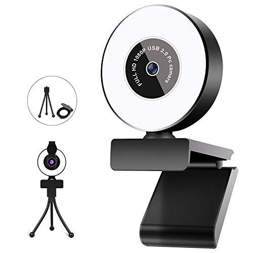 Cámara web HD 2K para PC con micrófono y anillo de luz, trípode y cubierta de privacidad para PC, Mac, portátil, cámara web de transmisión USB para YouTube, Zoom, Skype, Xbox One