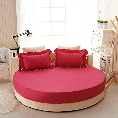 HPPSLT Protector de colchón Acolchado - Microfibra - Funda para colchon estira hasta Sábana de Cama Redonda de algodón Puro Acolchado-Rosa roja-Single Layer_2.0m