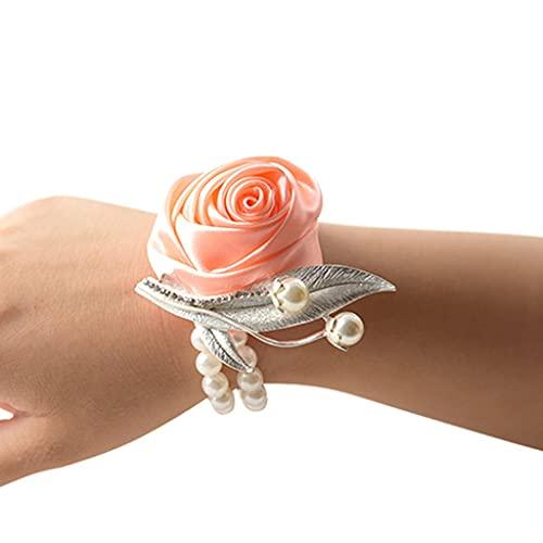 Afrsmw Pulsera Flores Dama de Honor Novia Pulsera Flores Boda con Perla Naranja Rosa