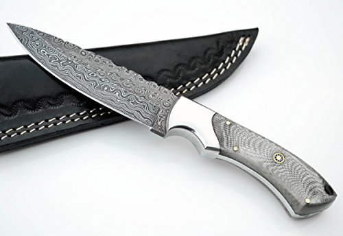 Whole Earth Supply Drop Point Damascus Hunting Knife with White & Gray German Micarta Skinning Custom Knives with Leather Sheath