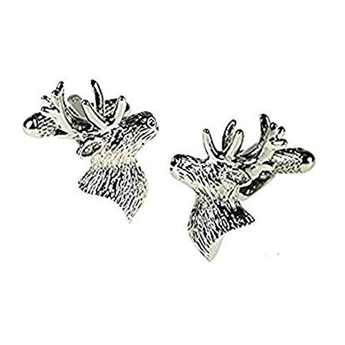 Onyx Art métal Tête de cerf Cufflink's dans une boîte cadeau Premier Life CK622 Stylo inclus