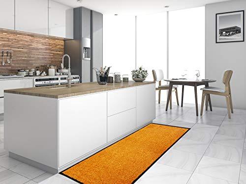 Primaflor - Ideen in Textil Küchenläufer Küchenvorleger Schmutzfangmatte CLEAN - Orange, 60x180 cm, Küchenteppich Schmutzfangläufer