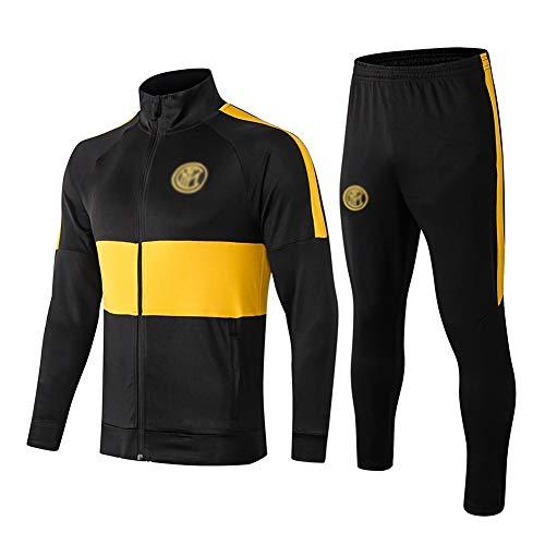 H.ZHOU Transpirable Deporte Jersey Europea de Formación Club de fútbol Juego de los Hombres de Manga Larga (Top + Pants) - -A1215 Trajes Deportivos para Hombre (Color : Black, Size : L)