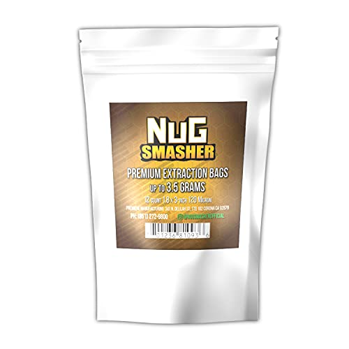 NugSmasher Rosin Press Bags -3.5 Gram (120 Micron) sized for nug smasher rosin press heat press and other machines each package contains 12 double back stitched press bags that measure 1.8″ x 3″